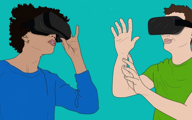 An illustration of two people wearing VR headsets