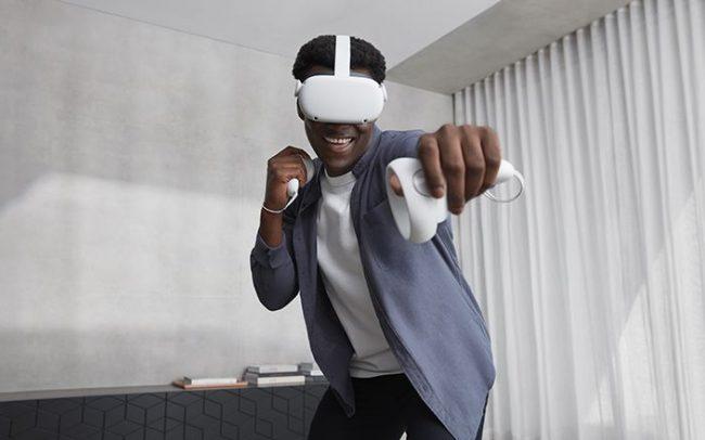 Man using Oculus Quest 2 indoors